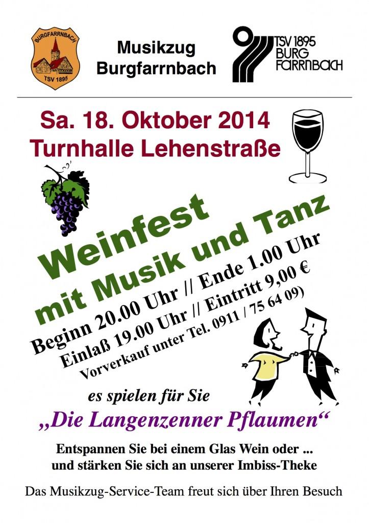 """Weinfest mit Musik und Tanz am 18.10.2014 in der Turnhalle Lehenstraße. Es spielen für Sie """"Die Langenzenner Pflaumen"""""""