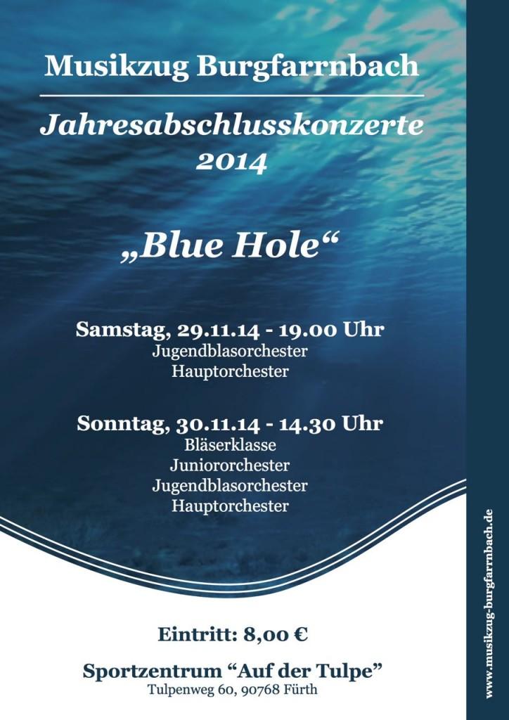 """Plakat zu den Jahresauftaktkonzerten des Musikzugs Burgfarrnbach für den 29. und 30.11.14. Wir spielen im Sportzentrum """"Auf der Tulpe"""" in Burgfarrnbach."""