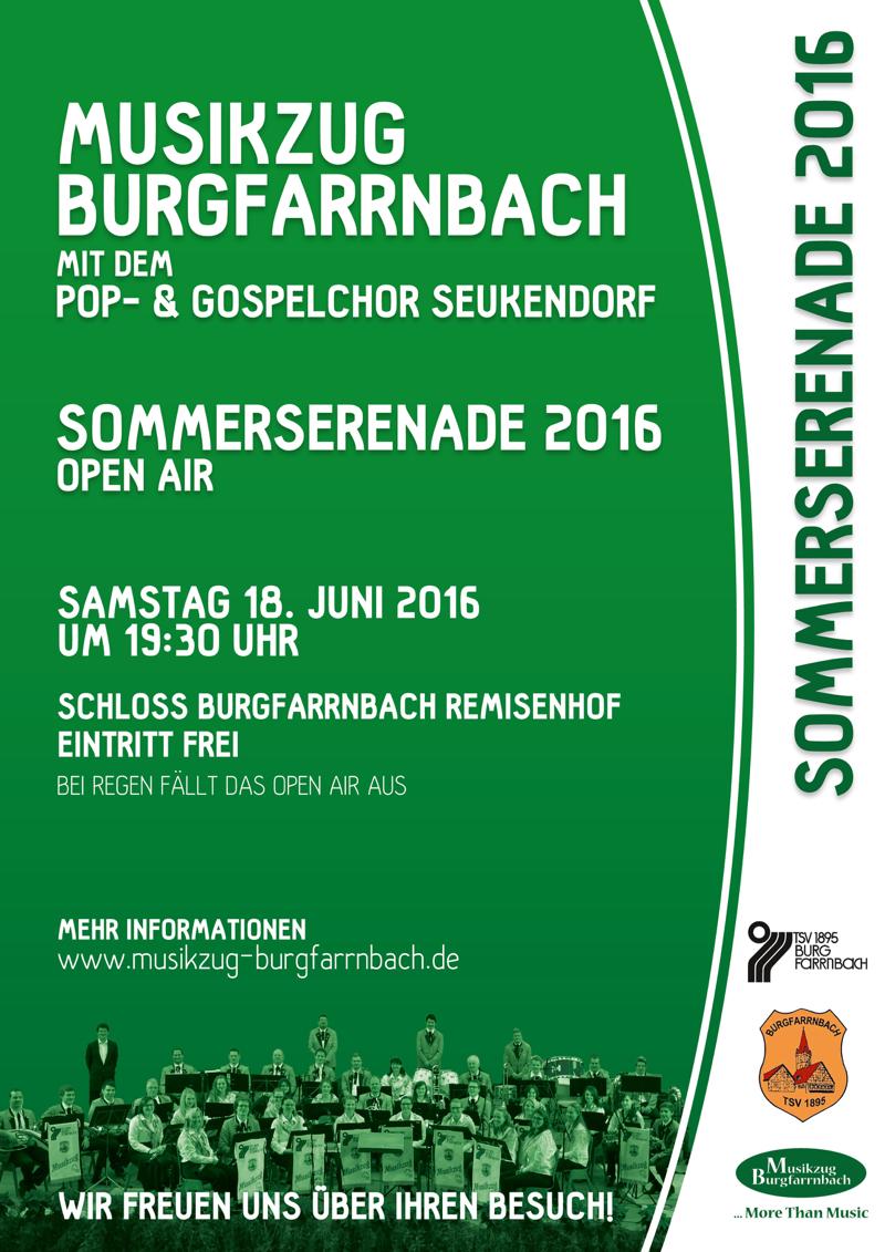 Sommerserenade des Musikzug Burgfarrnbach gemeinsam mit dem Gospelchor Seukendorf am 18. Juni 2016